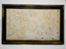 "Fabulous Antique Framed Silk Embroidery,Hand Done Needle Work Signed ""Mjp"" 12X19"
