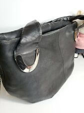 "Rossi Firenze Woman soft Black Leather Large Shoulder Bag Made In Italy 10x16""💜"