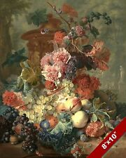 BUNCH OF FRUIT & FLOWERS GRAPES PEARS FLORAL PAINTING ART REAL CANVAS PRINT