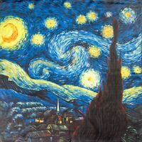 "Van Gogh Starry Night.100% genuine pure natural silk. Square neck scarf.52cm-20"""