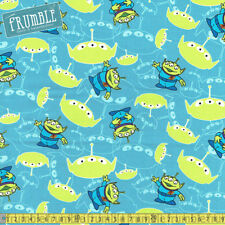 Camelot Fabric Disney Pixar Toy Story Little Green Men Blue PER METRE Licensed A