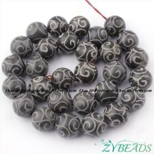 "13mm Carved Round Black Hua Show Jade Gemstone Beads Spacer Loose Strand 15"""