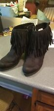 womens black heeled fringe boots size 11