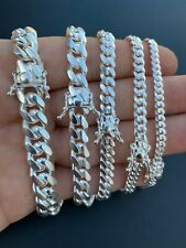 Real Miami Cuban Link Bracelet Solid 925 Sterling Silver Box Clasp ITALY 4-10mm