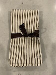 """Pottery Barn 3 Brown/Ivory Striped Napkins 20"""" Square New Never Used"""
