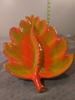 Vintage California Pottery Exlarge Leaf Ashtray USA Orange Green Glaze gold edge