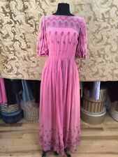 1970s Rose Semi Sheer Embroidered Maxi Dress