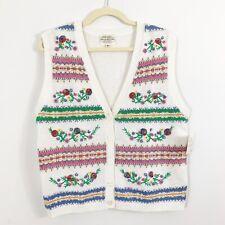 NEW Vintage Susan Bristol White Hand Embroidered Sweater Vest Size Medium Floral