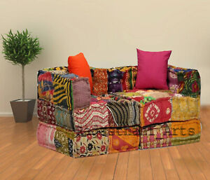 Bohemian Patchwork Floor Sofa Indian Modular Sofa Ethnic Multicoloured Ottomans
