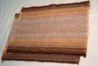 Vtg Woven Place Mats Town and Country Linen Japan Brown Natural Orange Fringe