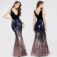 Ever-Pretty V-neck Evening Dress Long Sequins Purple Mermaid Bodycon Gown 07767