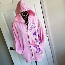 Disney Store Minnie Mouse Hoodie Pink Zip Up Hooded Sweater XL Extra Large