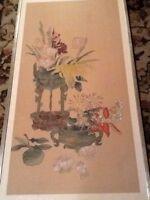 "Estate Vintage Flowers In Pots Asian Art WATERCOLOR PAINTING ON SILK 34"""