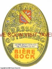 Scarce France Gutenberg Bock Biere Tavern Trove French Beer Label