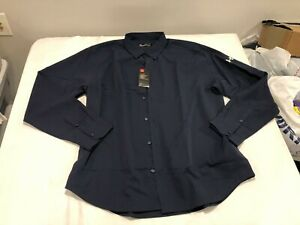 NWT $69.99 Under Armour Mens HG Ultimate LS Buttondown Navy Blue Size LARGE