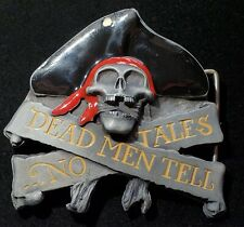 Pirate Belt Buckle Dead Men Tell No Tales Pewter Enamel Heavy Metal Buckles