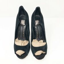 Dolce Vita Isabel Size 7.5 Black Suede Open Toe Pumps Sandals