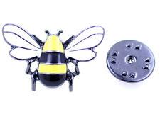 Fresco amarillo y negro esmalte abeja broche / pin / insignia