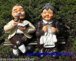 Dekofigur Oma und Opa 65cm sitzend auf der Bank wetterfest Garten Figur