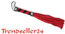 Peitsche 25 zügig weiches Velur Leder 25 cm Rot