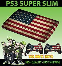 Playstation Ps3 Super Slim Usa Bandera Americana Grunge Skin Sticker & 2 Pad Skins