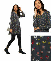 White Stuff Women Viscose Grey Red Floral Scoop neck Long Sleeve Tunic Blouse 10