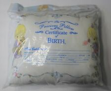 New Precious Moments Keepsake Baby Pillow Birth Certificate Luv n' Care White