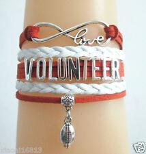 Infinity Love VOLUNTEER Football Charms Leather Braided Suede cords Bracelet