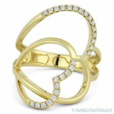 Fashion Ring in 14k Yellow Gold 0.25ct Round Cut Diamond Right-Hand Double-Heart