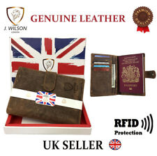 RFID Blocking Passport Wallet Leather Designer Travel Document Cover Card Holder