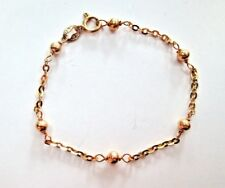 "Beautiful 18K yellow GOLD Beaded Cable BRACELET  5-5/8"" long for petite wrist"