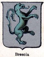 Brescia: Piccolo Stemma del 1901. Cromolitografia. Stampa Antica + Passepartout