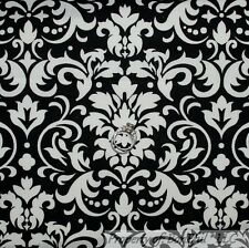 BonEful FABRIC Cotton Quilt Black White B&W Dot Damask Flower Old World FQ SCRAP