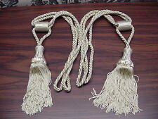 """Two Braided Rayon Drapery TIe Backs With Tassels. 22"""" Long With 4.5"""" Tassels"""