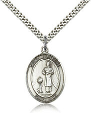 "Saint Genesius Of Rome Medal For Men - .925 Sterling Silver Necklace On 24"" C..."