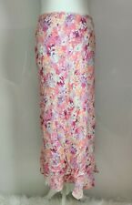 New F+F Women's Long Floral Print Skirt Chiffon Viscose Pink High Waist Size 14
