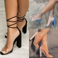 Women High Block Heels Sandals Open Toe Strappy Sandals Tie Up PVC Party Shoes