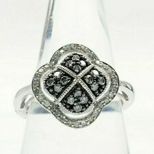 Elegant Sterling Silver Diamond Pave Geometric Openwork Scallop Cocktail Ring