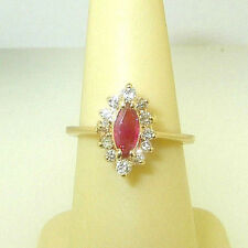 Gorgeous Top Quality Marquise RUBY & 1/3ctw of DIAMONDS 14K Yellow Gold Ring