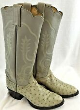 WOMENS TONY LAMA FULL QUILL OSTRICH LEATHER BOOTS SIZE 5.5 B GRAY