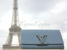 AUTHENTIC LOUIS VUITTON SPRING 2015 CALFSKIN BLUE LOUISE CLUTCH BAG