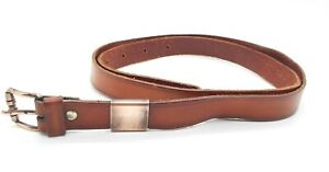 Vintage Gianni Versace Slim Leather Belt Tan, Size 88, Gold Tone Buckle - GC