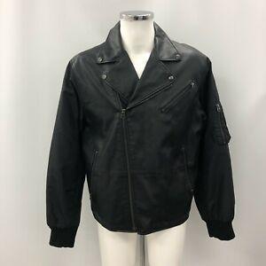 French Connection Biker Jacket Black Size XL Faux Leather Zipped 303589