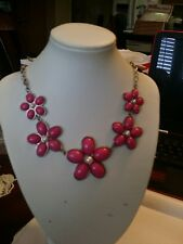 Fuschia pink acrylic cabochon faux pearl flower statement silver tone necklace D