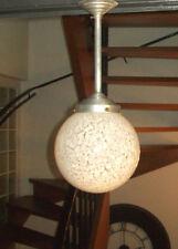 SUSPENSION LAMPE ART DéCO GLOBE Blanc moucheté VERRE Alu DESIGN 1930 50 ANCIEN