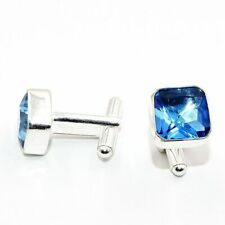 Jewelry Men's Cufflinks Jw10626 Blue Topaz Gemstone Handmade