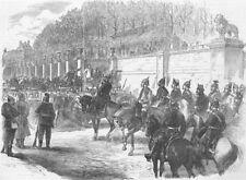 FRANCE. German Gen Blumenthal, Rue de Rivoli, antique print, 1871