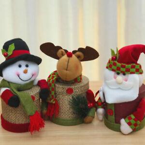Merry Christmas Candy Pot Bins Lovely Snowman Santa Storage Boxes BottRI