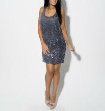 Oasis Blue Grey Sequin Sleeveless Party Mini Shift Dress Size 12 EUR 38