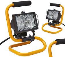 2 x 120W Portable Halogen Work Light Shed Garage Workshop Lamp Light Metal Frame